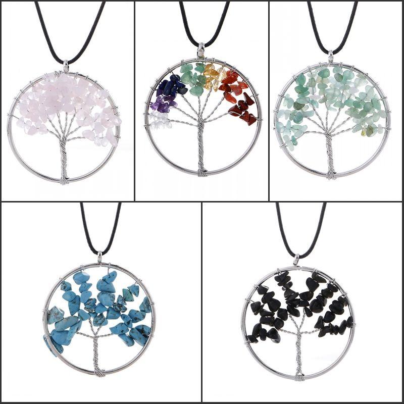 Fashion 7 Chakra Necklace Crystal Stone Tree Of Life Pendants Reiki