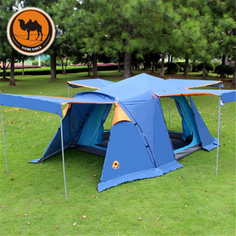 Wholesale- Pastoral Life Outdoor 3-4 People Double Anti-rain Waterproof Camping tent with Skirt 4 doors Family Travel Hiking Automatic Tent