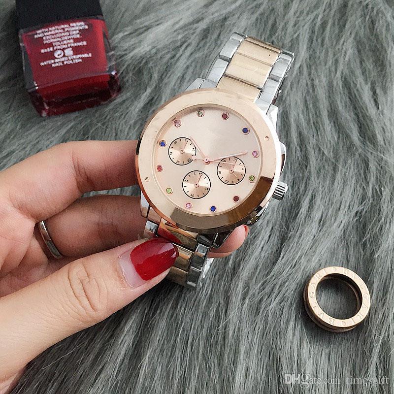 Yeni Vogue 2019 Marka Saatler Erkekler Kadınlar Casual Tasarımcı Moda Paslanmaz Çelik Altın Gül Altın Kadınlar Elbise Saatı Damla nakliye