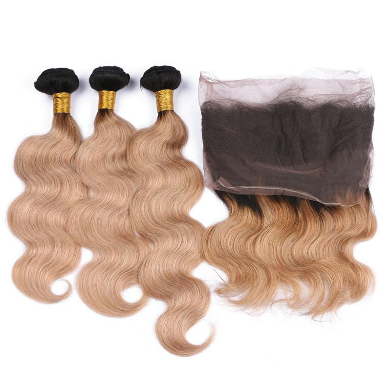 Honey Blonde Ombre 22.5x4x2 Full Frontal 360 Band chiusura in pizzo con Body Wave 1B / 27 Strawberry Blonde Ombre Virgin Capelli umani 3Bundles