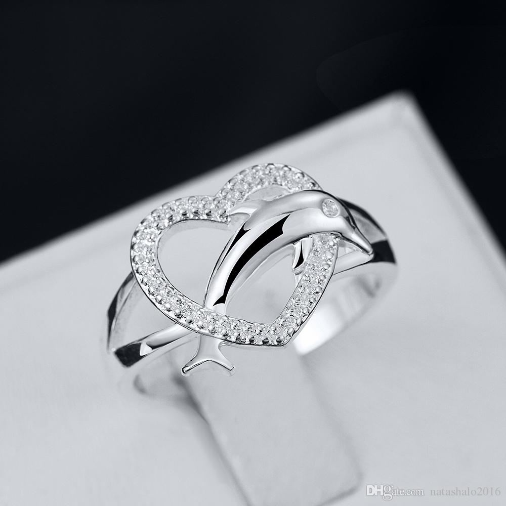 2018 Heart Dolphin Silver Rings With Gift Box Zircon Stone Women