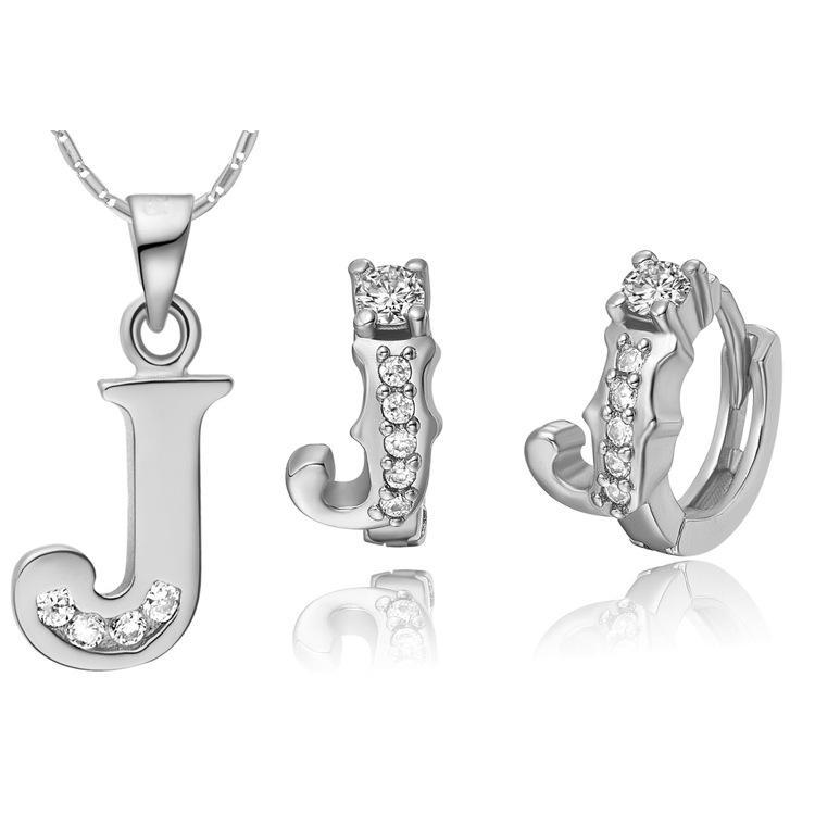 NUOVO vestito placcato in argento sterling 925 realizzato con una lettera a 26 lettere a pendente Ding con lettere J