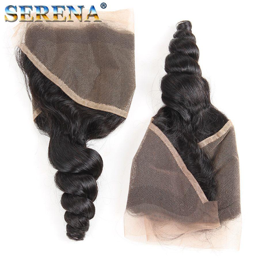7A Pre Plecked Lace Frontal Closure 아기 머리카락을 가진 표백 된 매듭을 염색 할 수 있습니다. 귀를 향한 전두엽 뭉치가있는 느슨한 딥 웨이브 정면