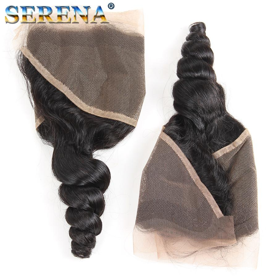 Peruvian Loose Wave Human Virgin Hair Bundles with Lace Frontal Closure Remy Hair Extensions with Weaves 13*4 inch Swiss Closure