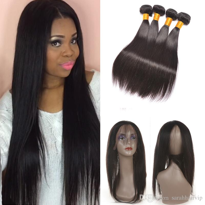 Raw Indian Virgin Straight 360 Lace Frontal Closure With Bundles 3 Bundles  Hair Extension Weave With 360 Full Lace Frontal Closure Hair Best Weave  Hair Best ... 28e21eb8131b