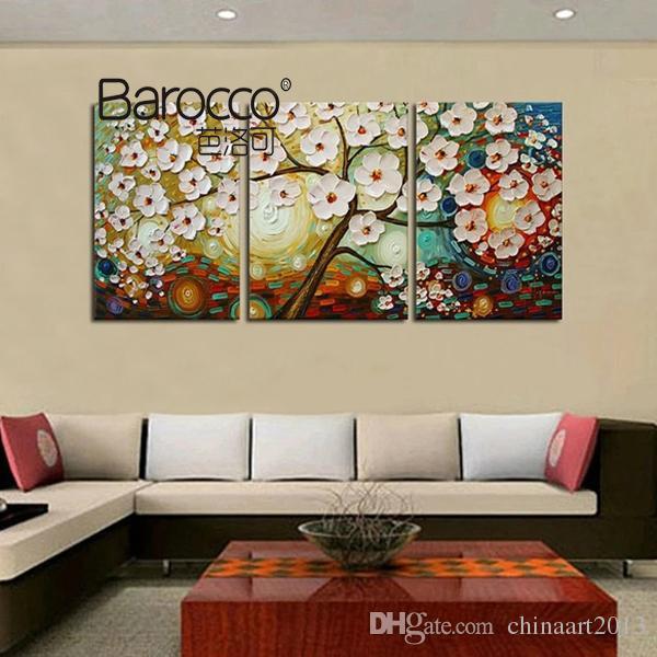 Ev dekorasyonu için tuval üzerinde 3 adet elle pinted çiçekler ağaç peyzaj yağlı boya, modern duvar sanatı resimleri