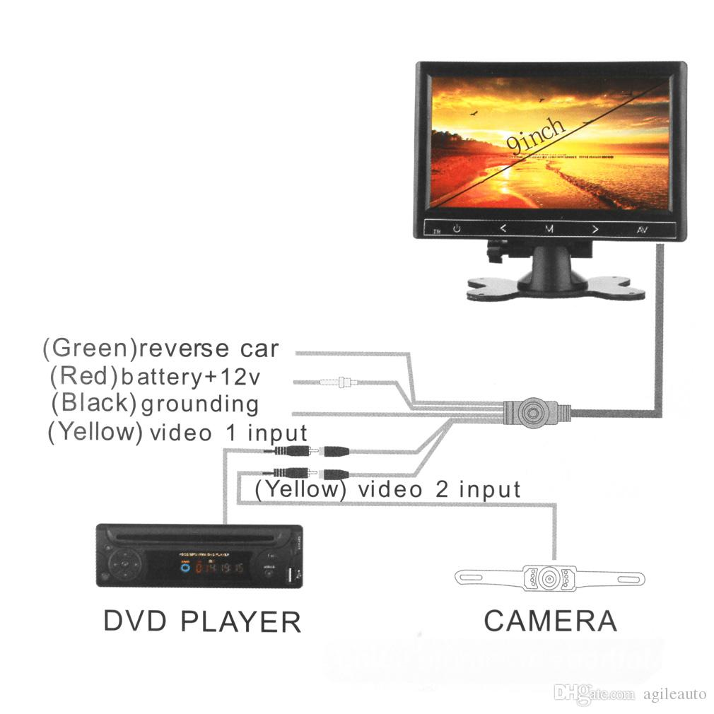 9 Inch Car RGB Digital Display 2 Video Input Rear View VCR Monitor with Touch Button CMO_30F