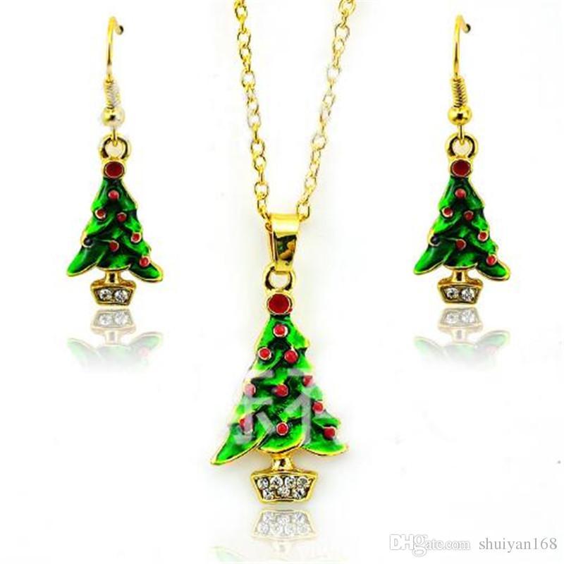 La joyería de Navidad chapado en oro Pendientes elegante del árbol de Navidad colgante de Declaración pendientes de las mujeres collar fija la cadena del suéter