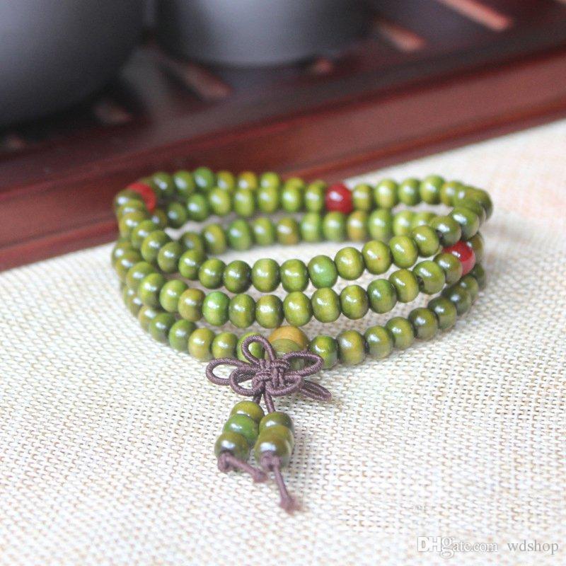 Natural Sandalwood Buddhist Buddha Meditation 6mm 108 Beads Wood Prayer Bead Mala Bracelet With Bowknot Wood Rosary Beaded Bracelet