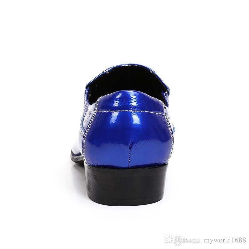 Остроконечные Toe площади Высокие каблуки Обувь мужская Твердая скольжению Toe Мокасины Свадебный Формальные лианы Zapatillas Hombre
