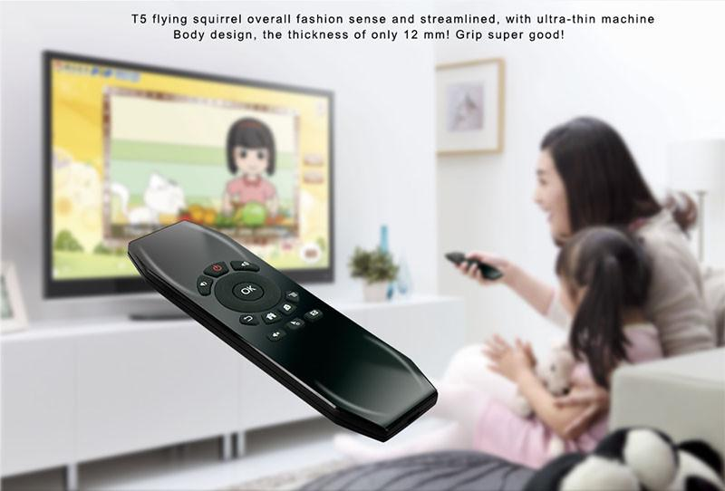 T5 Mic 2.4G Sans fil Fly Air Mouse avec Microphone Voix Télécommande Universelle Clavier IR Learning Mini Clavier Pour Android TV Box PC