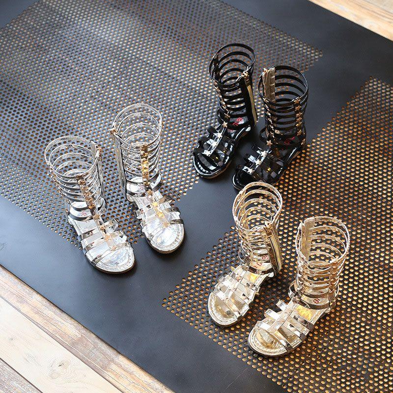 3 ألوان الأطفال روما المصارع الصنادل أطفال فتاة الصيف الأحذية أحذية عالية الصنادل الشظية الذهب الأسود أحذية الحجم 26-35 اختيار الأحجام