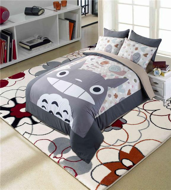 Totoro Bed Bedding Set Cartoon Japan Style Anime Character Designer  Comforter Duvet Cover Bed Linens Twin Full Queen King Size Blue And White  Duvet Bedding ...