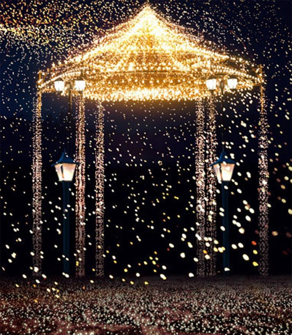 Gold Lights Bright Pavilion Romantic Wedding Photography Backdrops Dark Night Studio Props Photo Shoot Backgrounds 8x10ft