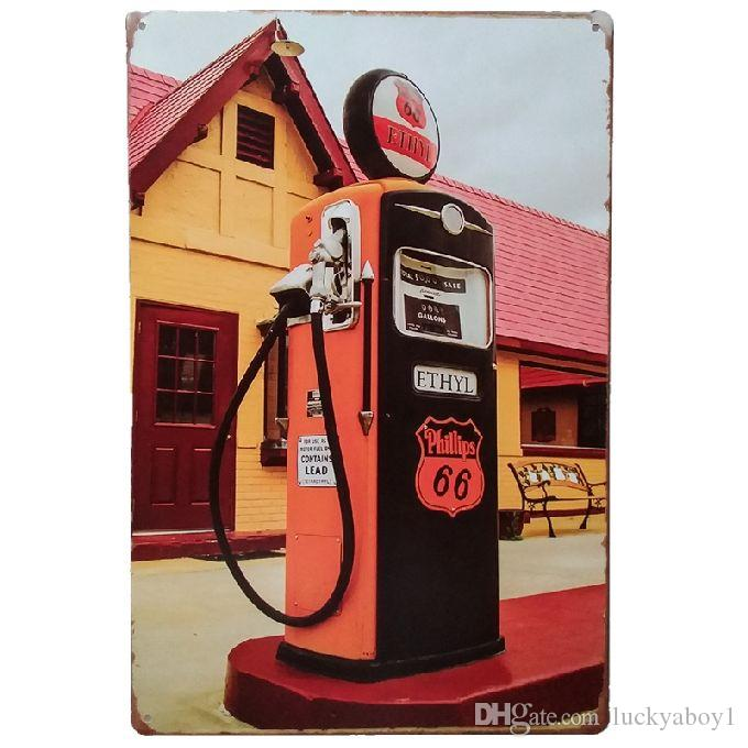 Gas Oil Route 66 Retro rustic tin metal sign Wall Decor Vintage Tin Poster Cafe Shop Bar home decor