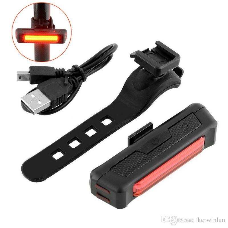 Recargable de ciclo de la bicicleta Cabeza Cabeza impermeable de la luz USB Comet / cola Luces de advertencia Luz COB seguridad de la bici