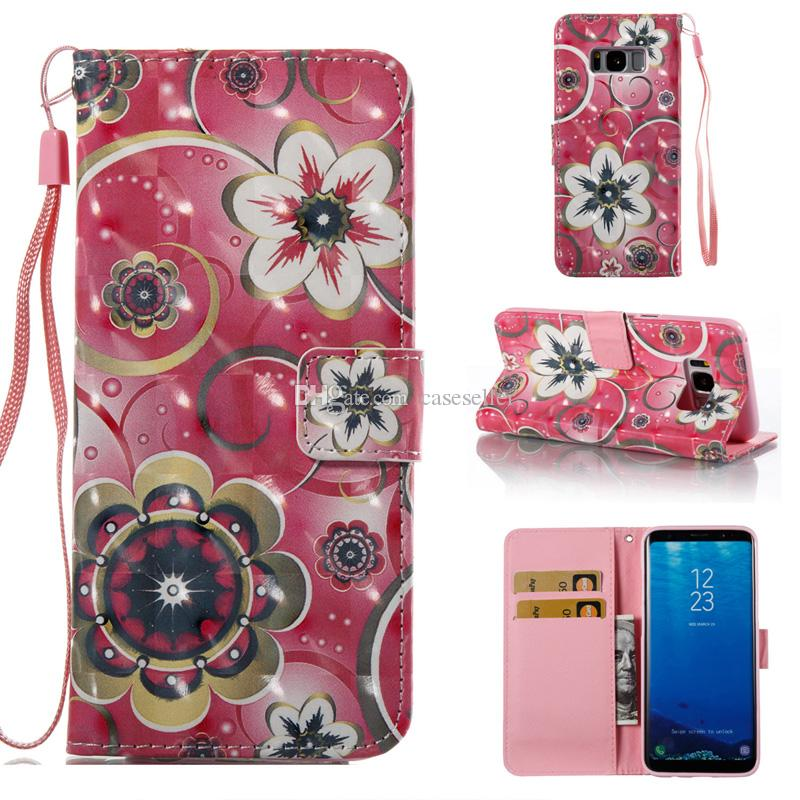 3D Flip Wallet Leather Paiting tower butterfly flower Cover Card Slot Case for samsung S8 plus S7 edge S6 edge S5 J310 J510