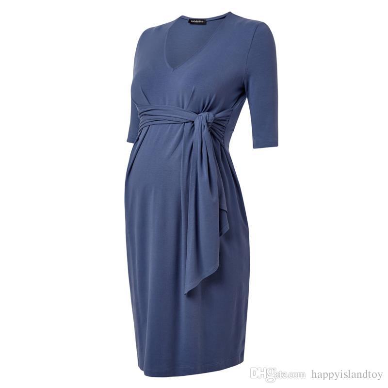 2f47450ecc94a High Waist Tencel Knee Length Maternity Dresses Elegant Blue A-Line ...