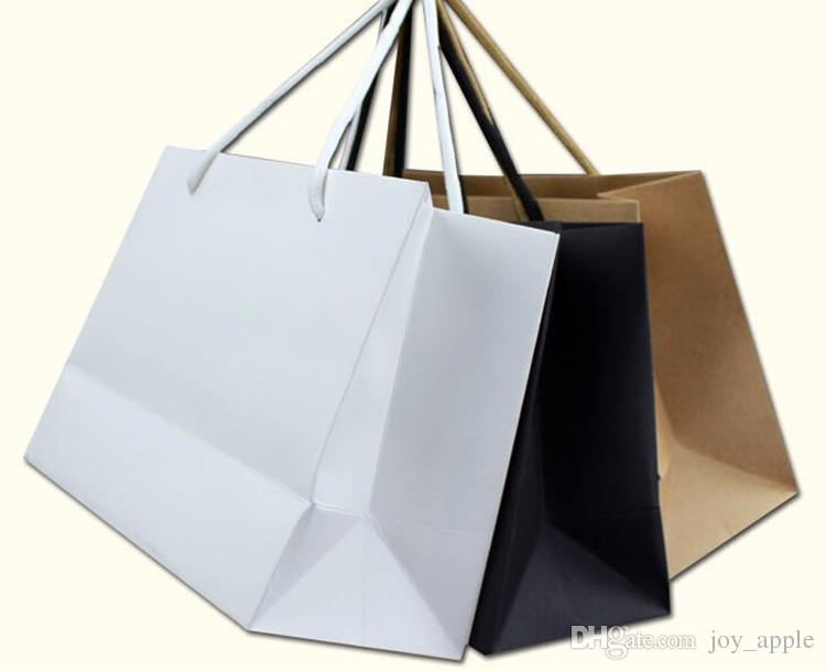 Wholesale Classical Style White Black Kraft Paper Gift Packaging Bag 230g Cardboard Paper Made