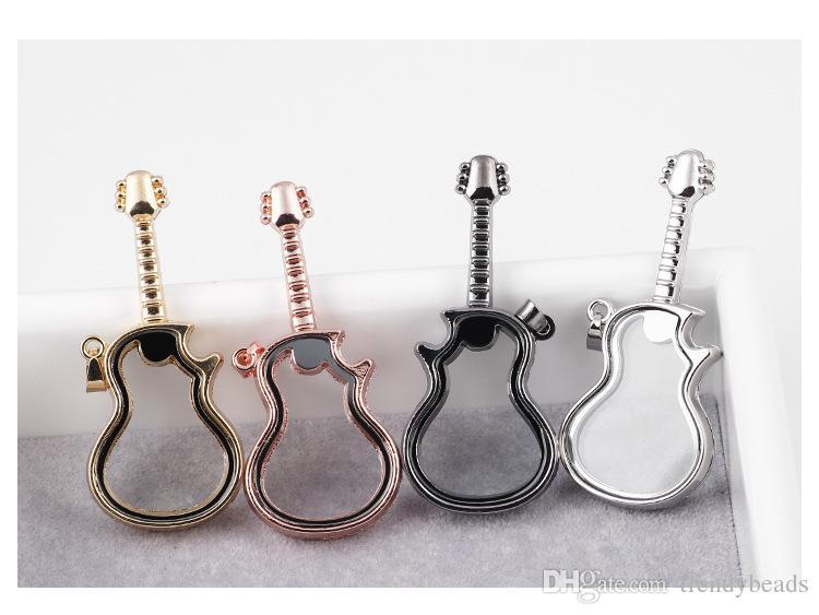 Nouveaux charmes flottant médaillon ouvert guitare étui en verre bricolage hd verre flottant mémoire lockets bijoux accessoires pour bracelets et colliers