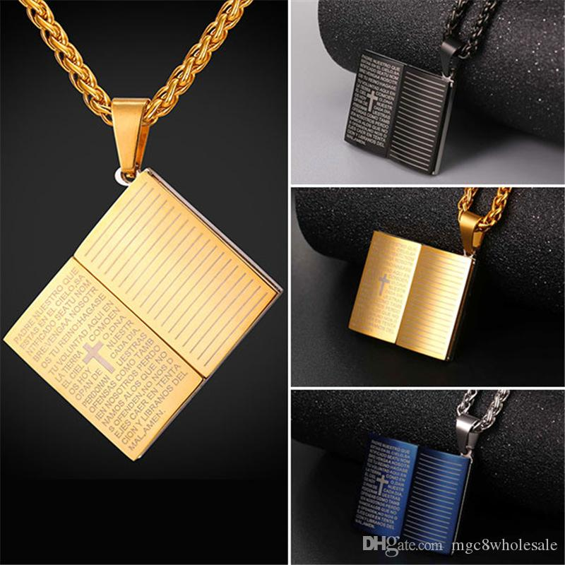 U7 blue bible book pendant necklace stainless steelgold plated rope u7 blue bible book pendant necklace stainless steelgold plated rope chain cross christian jewelry for womenmen perfect accessories gp2436 pendant necklace mozeypictures Image collections
