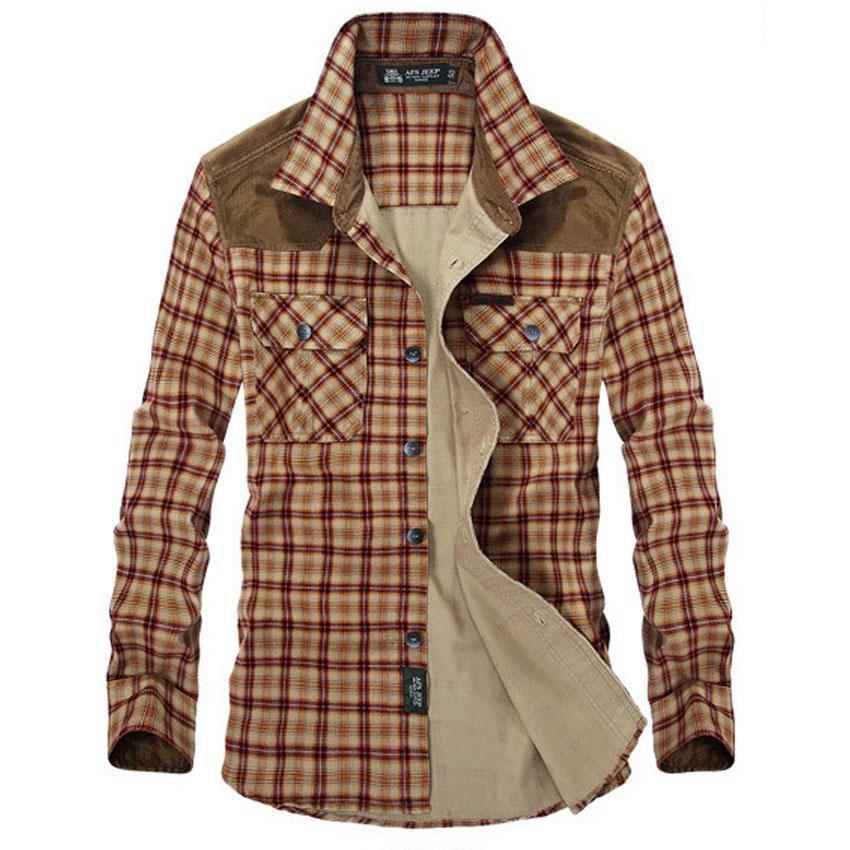 2017 Afs Jeep Men Plaid Cotton Casual Shirt Men Brand Clothing ...