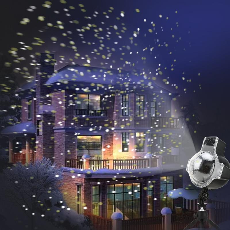 snowfall led lights rotating christmas projector light snowflake spotlight waterproof projector lamp for christmas party winter festival led stage light led