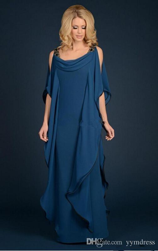 해군 파란색 신부의 어머니 드레스 새로운 샴페인 쉬폰 바지 정장 웨딩 플러스 크기 파란색 줄이 흐르는 외장 바닥 길이