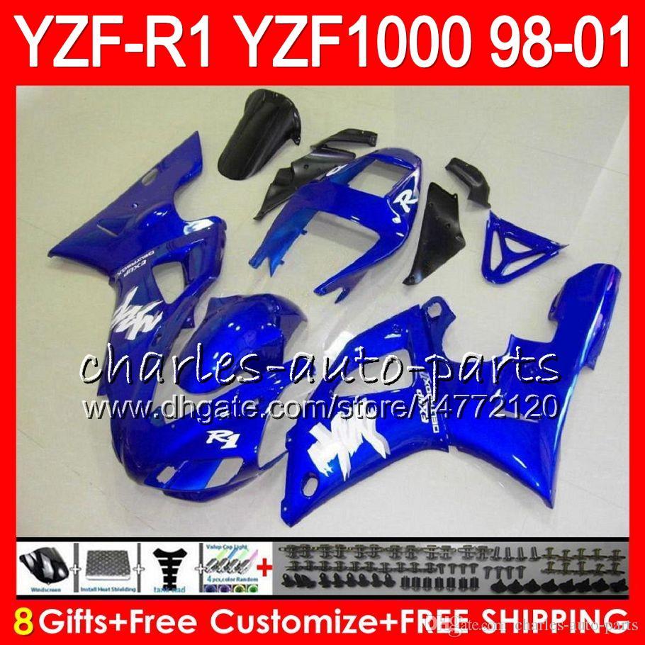 8Gift 23Corpo Corpo Para YAMAHA YZF 1000 R 1 YZFR1 98 99 00 01 61HM17 brilho azul YZF1000 YZF R1 YZF-R1000 YZF-R1 1998 1999 2000 2001 Carenagem
