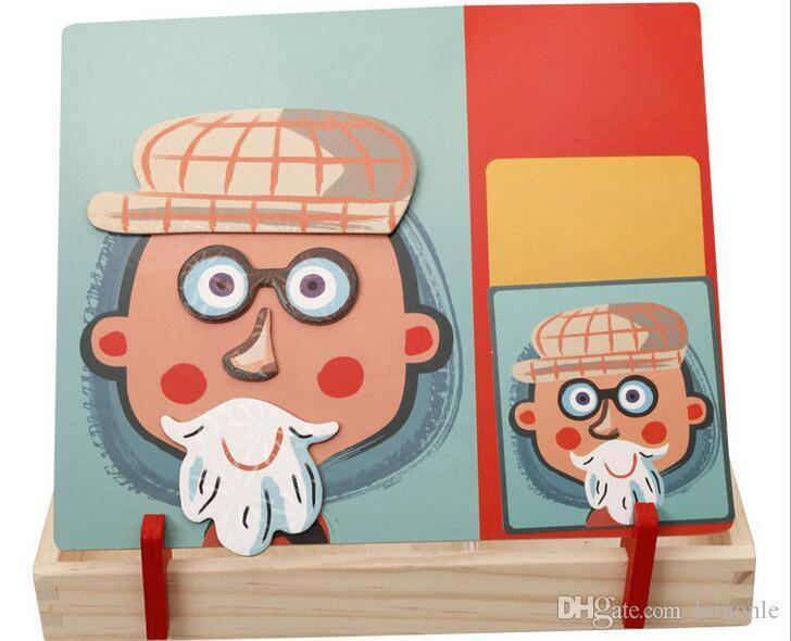 5 Conjuntos Crianças De Madeira Quebra-cabeças de Circo Edifícios Multifuncional Magnética Crianças Puzzle Placa de Desenho Brinquedos Educativos