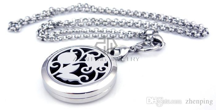 With Chain as gift! Silver Flower and Butterfly 30mm Aromatherapy/Essential Oils Stainless Steel Perfume Diffuser Locket Necklace