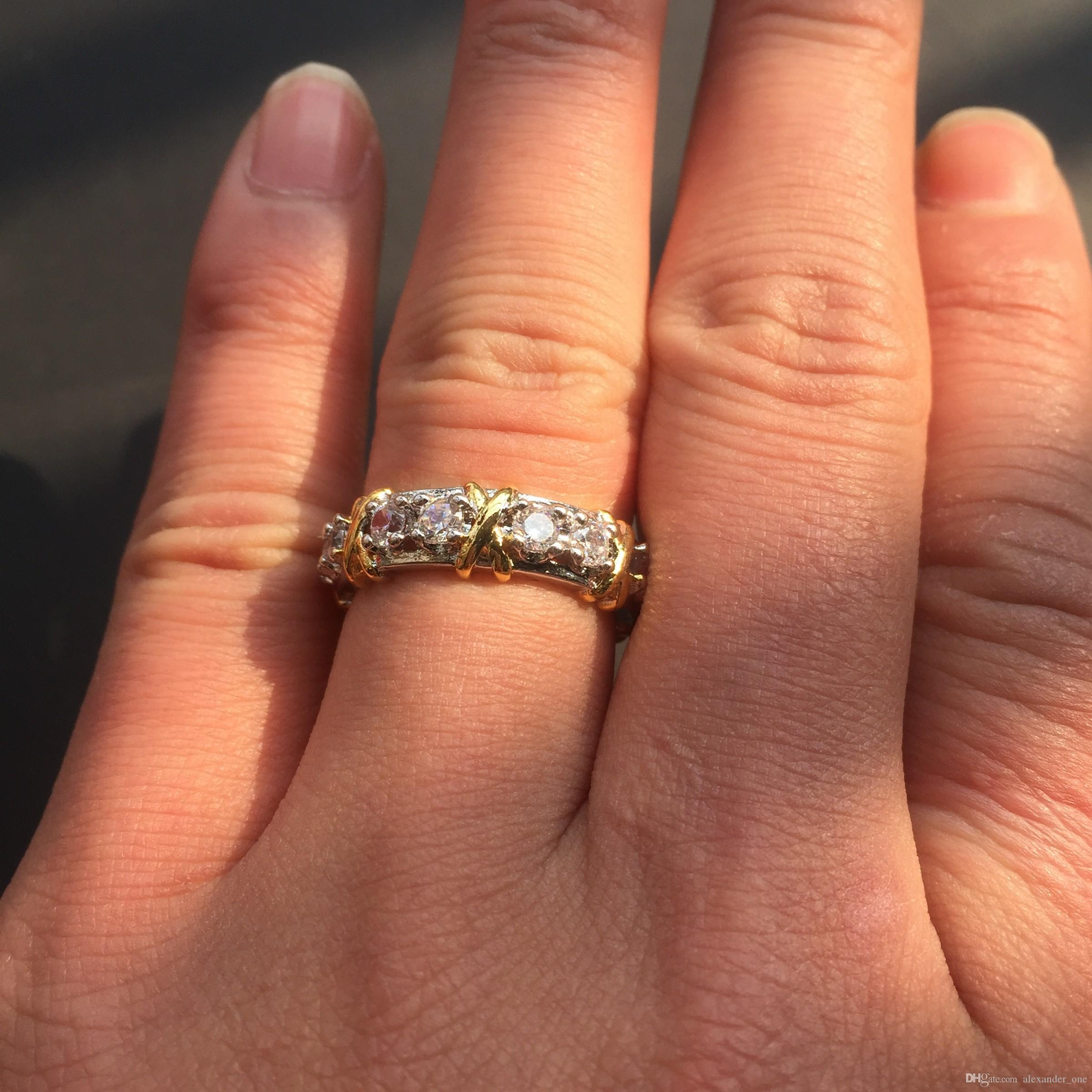 Marke Jewlery Frauen 925 Silber Simuliert Diamant Zirkonia Tansanit Gelbgold Kreuz Ewige Band Ehering