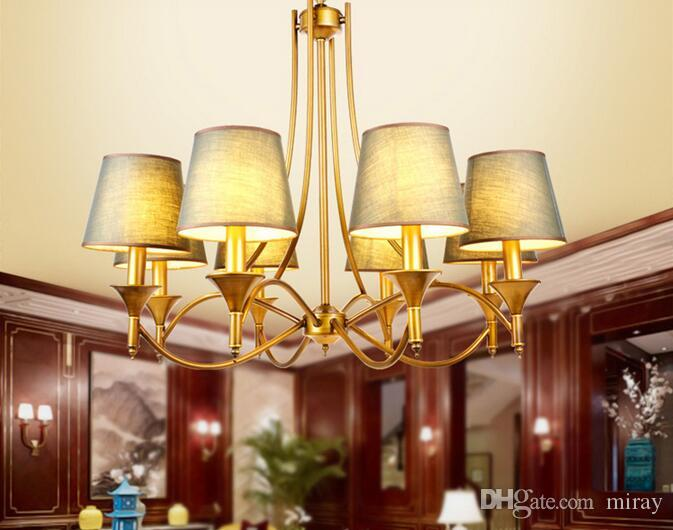 Discount American Nordic Retro Iron Lamp Chandelier Jane Dining Room Bedroom Hotel Project Study Hanging Shade Copper