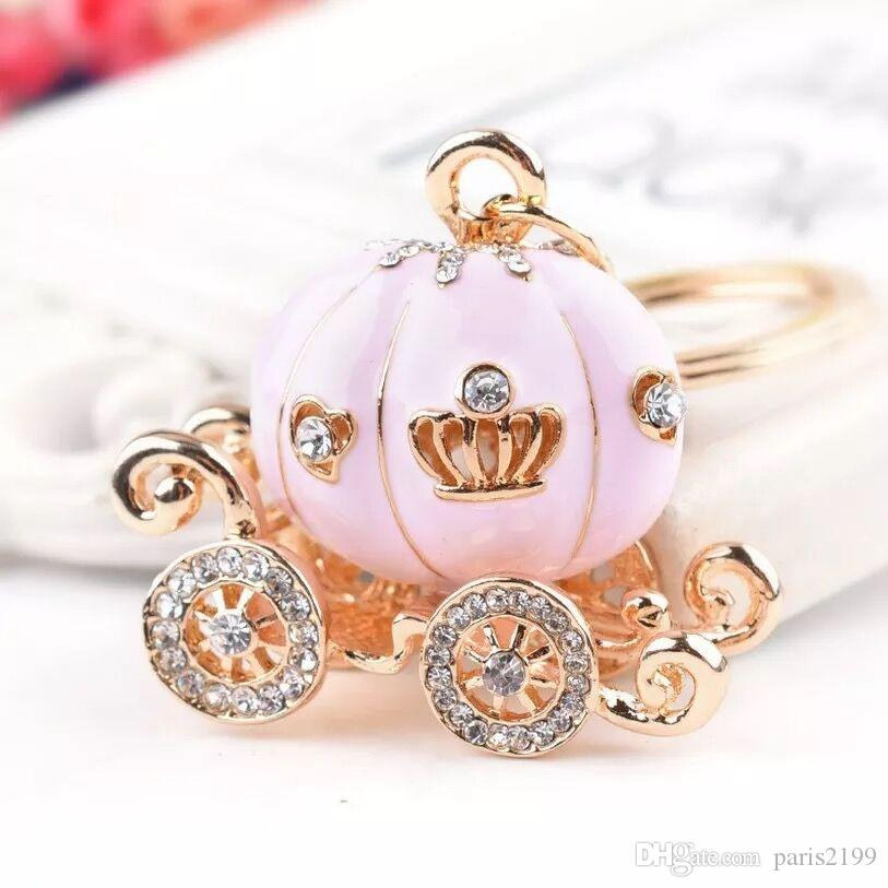 Vendite calde Lovely Pink White Pumpkin Carriage Crystal Pendente di fascino Borsa Borsa Car Key Portachiavi Portachiavi Festa di compleanno Matrimonio Creativo Gi