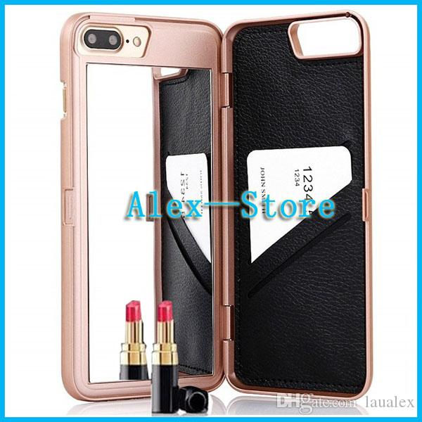 For iphone 7 7plus 6 Clear Mirror Hybrid Flip PU Luxury Lady make up 3D Dual Layer Card Slot Wallet Mirror Case cover