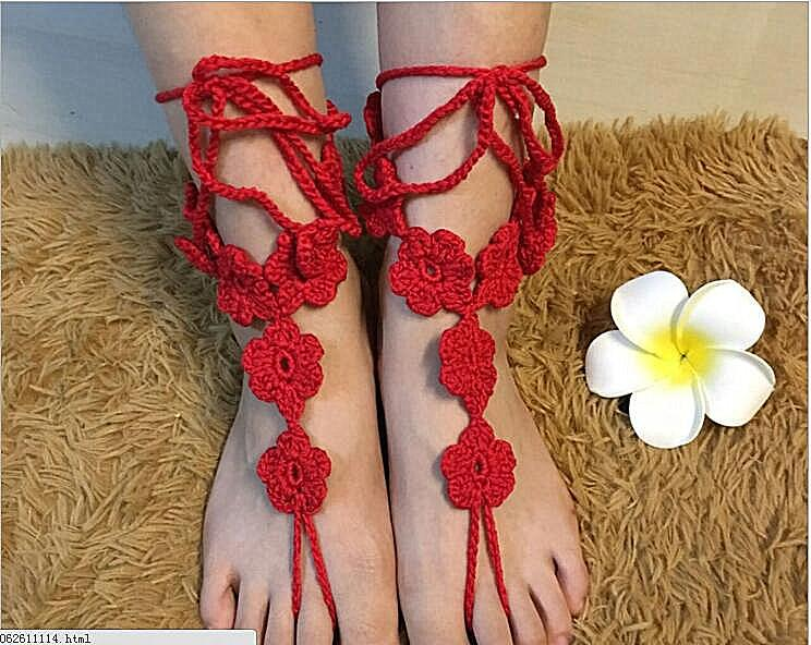 White Crochet Barefoot Sandals Nude Shoes Foot Jewelry Beach Wedding Bride Bridesmaid Lace Foot Accessories Summer Shoes Anklets