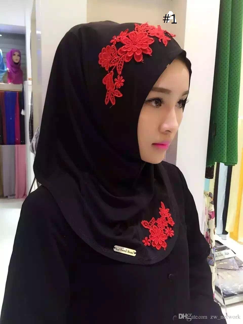 Encaje de las mujeres Hijab musulmán Impreso Chales instantáneos Jersey Bufanda modal Amira Slip On Bufandas Envolturas El pañuelo de las mujeres puede elegir el color 77