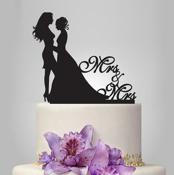 20 unids Personalizado Negro Pastel de Acrílico Cake Topper Cake Personalizado Wedding Mrs Mrs Bride the Cake Topper