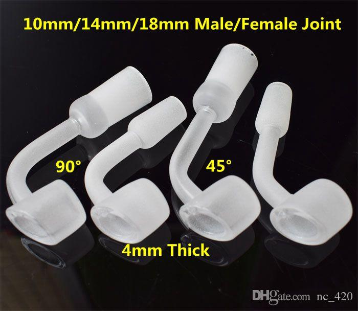 4mm thick quartz banger nail with 10/14/18mm male female short neck quartz domeless nail 45 90 degree for glass water pipe