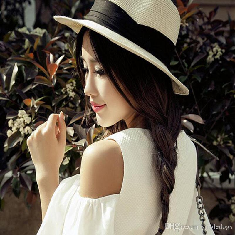 Newest Women Straw Hats Floppy Summer Wide Brim Hats Girls Teen Lady Vacation  Beach Holiday Cool Bowknot Foldable Hats Sun Hat Caps Women Straw Hats  Floppy ... b7264cee57ad