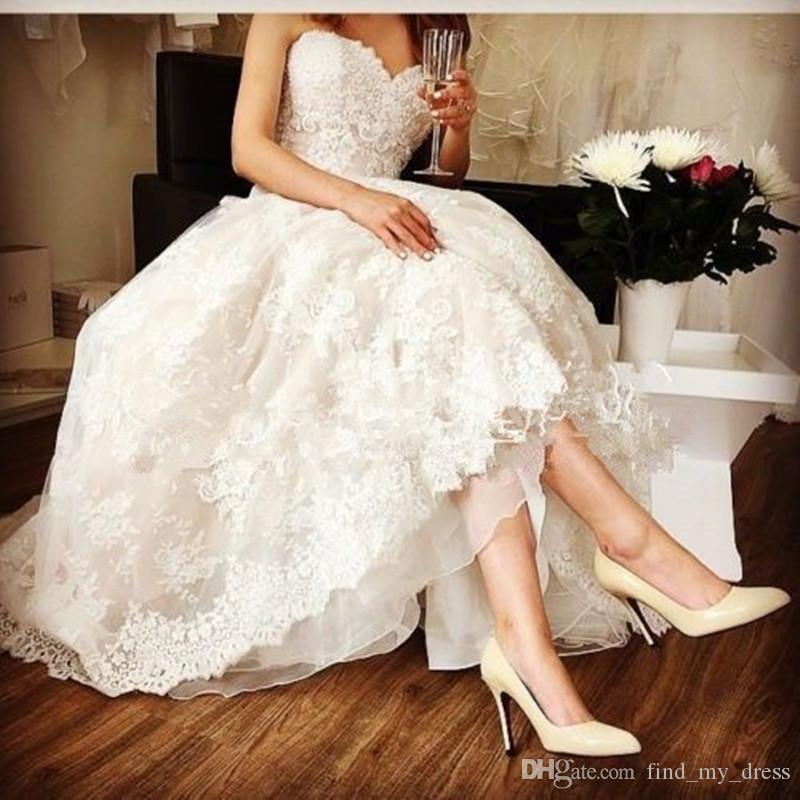 Hot Selling!! Short Wedding Dresses Lace Sweetheart US2-26W++ in Stock Appliques New Bridal Gowns Formal Special Occasion Modern Fashion Top