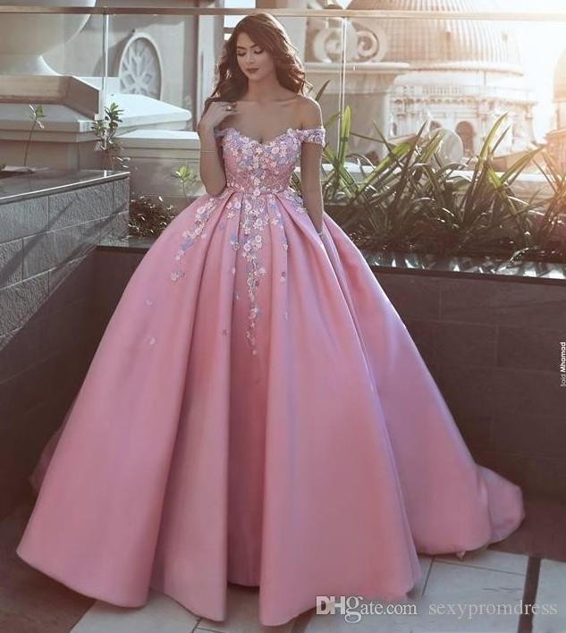 Розовый с плеча Пром платья с аппликациями цветы сказал Mhamad атласные вечерние платья вечерняя одежда молния назад на заказ свадебные платья