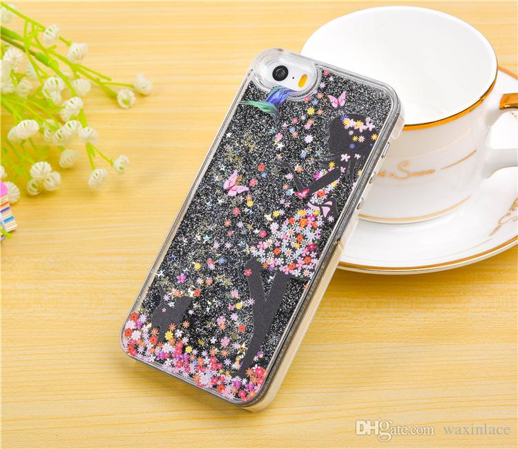 Glitter Limpar PC telefone caso dinâmico líquido Sexy Girl rígida Plástico capa para o iPhone 6 7 mais Covers Magro rápida Areia Acrílico Voltar