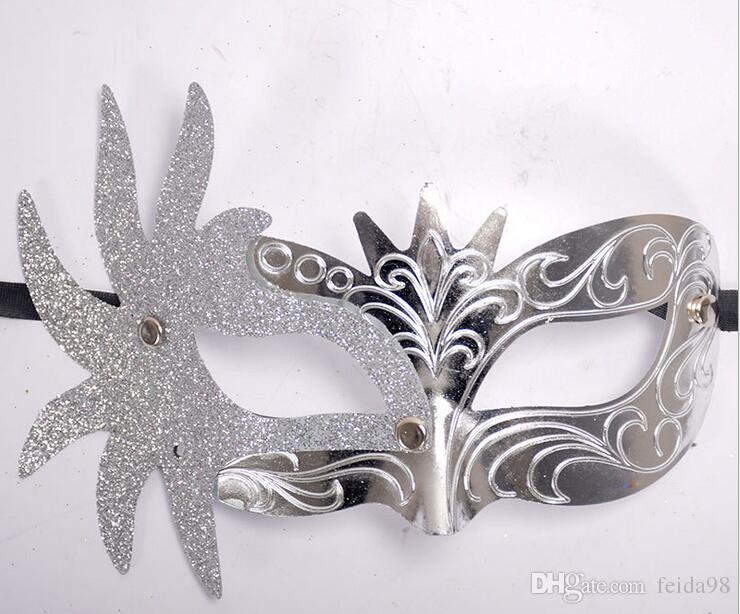 Mascarade vénitienne masques côté fleurs peintes or poudre petite couronne princesse beauté halloween masque G600