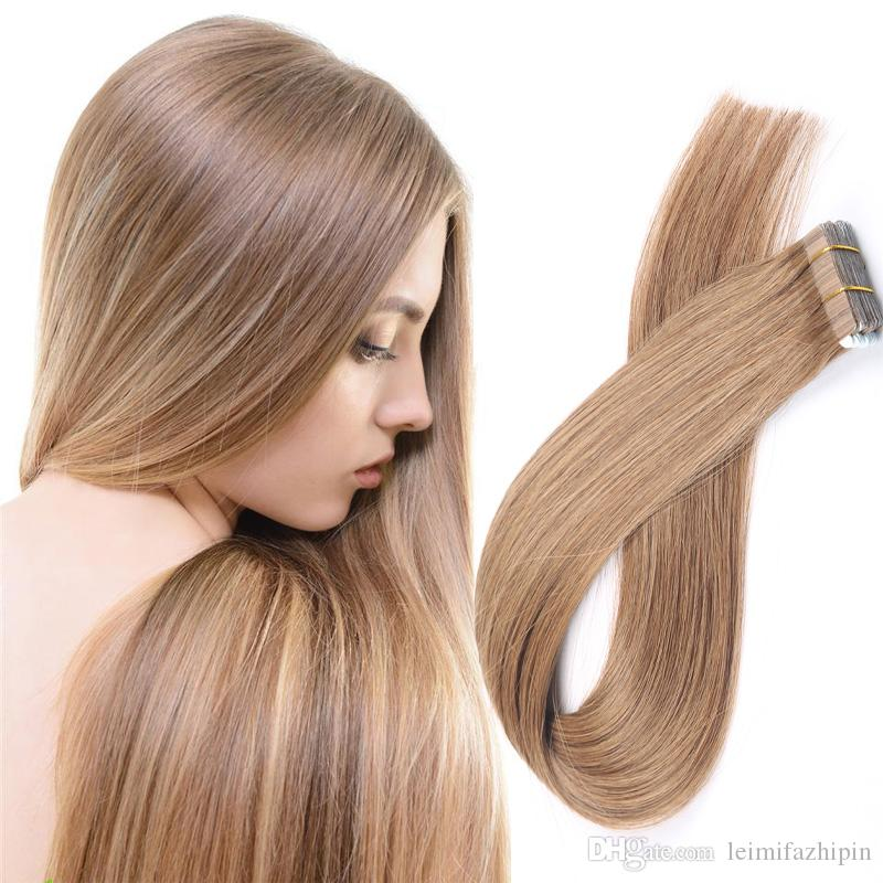 Resika Top Quality Tape In Hair Extensions 16 24 Inch Straight Pu