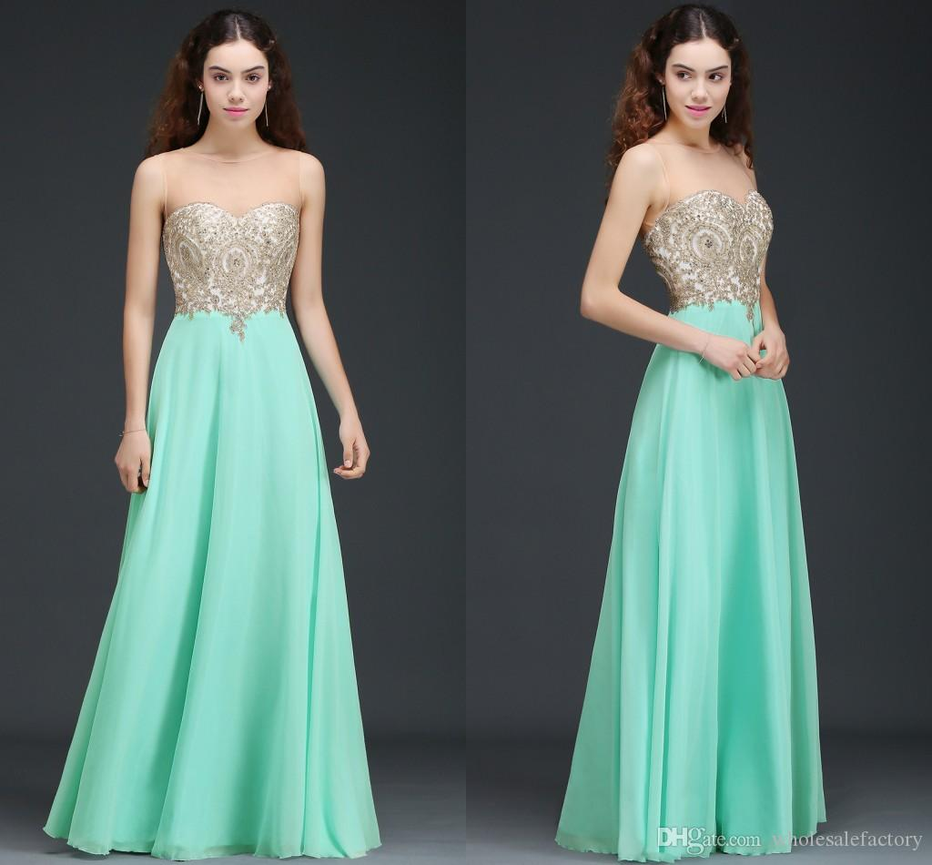 Wholesale Price Mint Green A Line Evening Dresses With Appliques ...