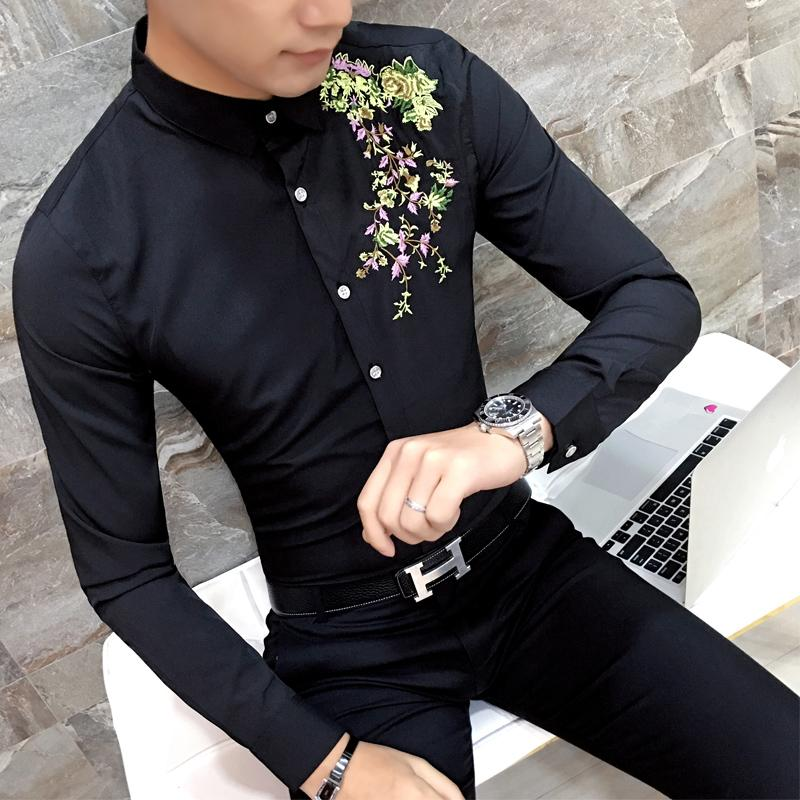 Wholesale- 2017 Mens Embroidery shirt Long Sleeve Black White Dress Shirt Party Club Party Flower Shirt M-2XL