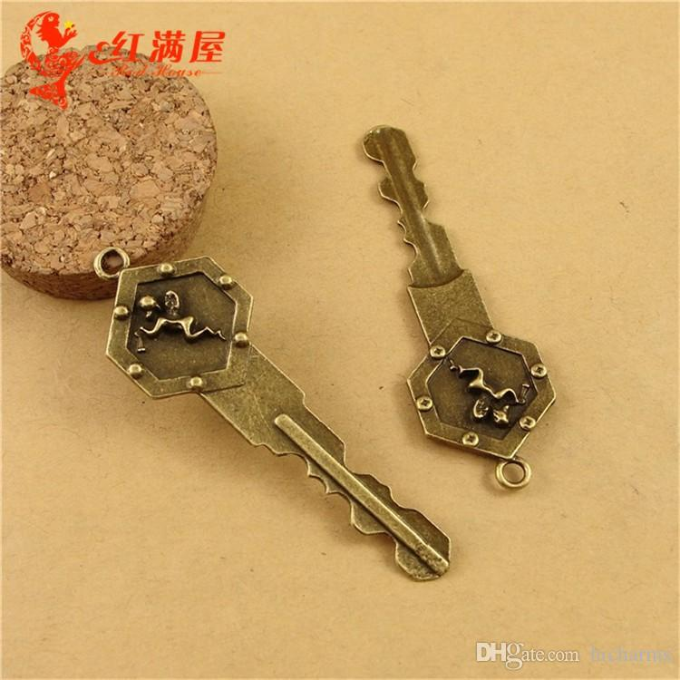 71*22MM Antique Bronze angel key charms for bracelet, vintage metal fairy pendants for necklace, fashion tibetan jewelry making findings