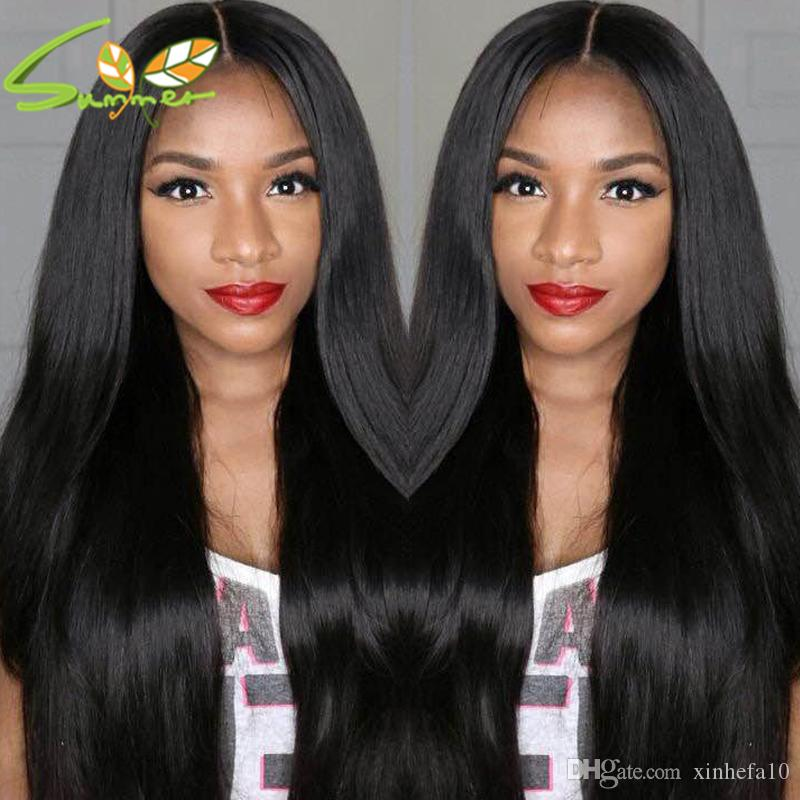Best Thick Silky Straight Human Hair Lace Front Wig With Bangs Virgin Brazilian Hair Fringe Straight Hair Glueless Full Lace Wig