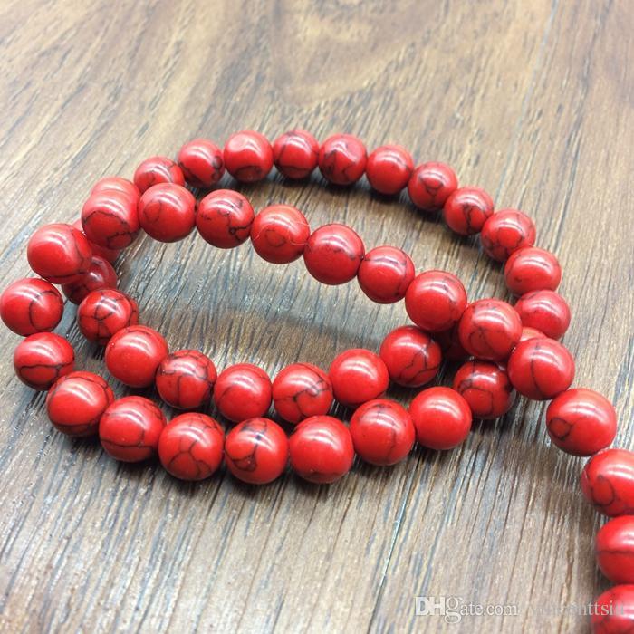 4-12mm Red Gem Naturstein Schmuck Erkenntnisse Howlith Abstandhalter Perlen lange Halskette endet Lariat Ohrringe Armband Bijoux Kit